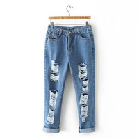 Women's Fashion Summer Ripped Holes Rinsed Denim Denim Pants Cropped Pants [4920276228]