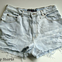 Bleached High Waisted Shorts Upcycled Denim Jean by shortyshorts