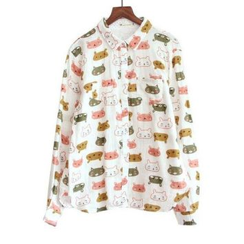 ONETOW Playful cat head print Turn-down collar long sleeve Cotton yarn shirt blouse female