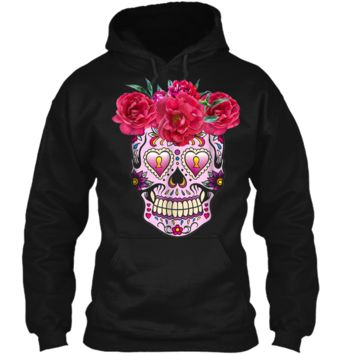Pink Flowers Sugar Skull Day Of The Dead Halloween Pullover Hoodie 8 oz