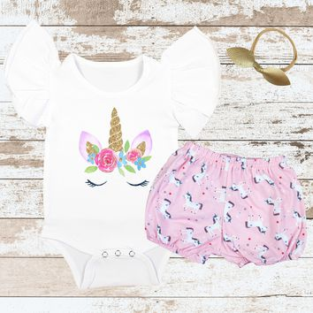 Unicorn Face Flutter Pink Unicorn Bloomer Outfit
