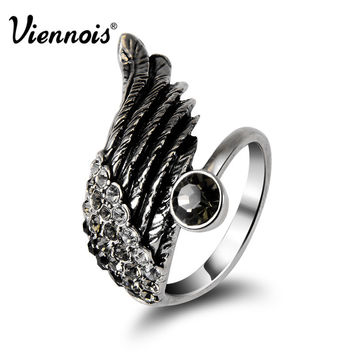 Viennois Retro Vintage Silver Wing Crystal Rhinestone Ring For Women new 2015