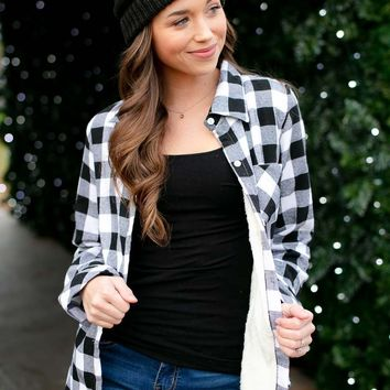 Perfectly Plaid Button Up Top With Faux Fur Lining