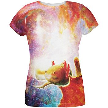 Galaxy Axolotl Mexican Salamander All Over Womens T-Shirt