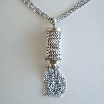 Curb Link Chain Wrapped Cylinder Pendant Necklace Tassel 2-Chains