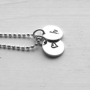 Small Letter h Necklace, Sterling Silver Initial Necklace, Heart Necklace, Charm Necklace, Initial Jewelry, Personalized Jewelry, Hand Stamp