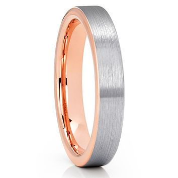 4mm Tungsten Ring - Rose Gold Tungsten Ring - Gray Tungsten - Comfort Fit