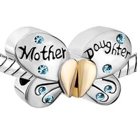 Pugster Silver Plated Mother Daughter Charms Separable Butterfly Bead Fits Pandora Charms Bracelet (Skyblue)