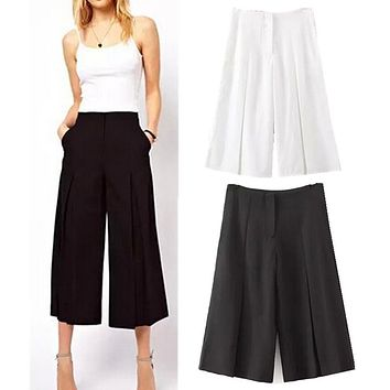 2015 Women's Fashion Solid Color Black / White Loose Capris Pants OL Cropped Trousers Gaucho Retro High Waist Wide Leg Pants