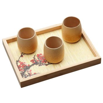 rectangular gongfu tea tray Storage tray wooden  teapot trivets container Tea ceremony gadgets Coffee Dishes single layer gift