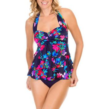 Suddenly Slim by Catalina Women's Retro Ruffled Slimming One-Piece Swimsuit - Walmart.com
