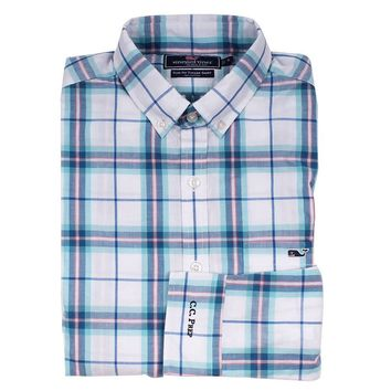 Custom Picket Plaid Slim Tucker Shirt in Aqua Ocean by Vineyard Vines