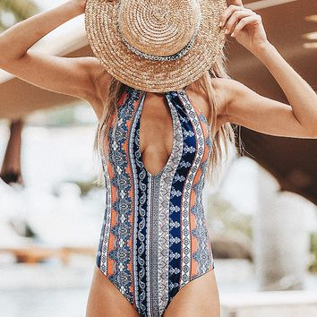 Cupshe Fleet Of Time Print One-piece Swimsuit