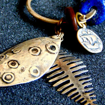 Stunning Silver lapis and amber keychain-Sterling silver fish keychain-Skeleton fish keychain-Unique artisan gifts-Unusual accessories