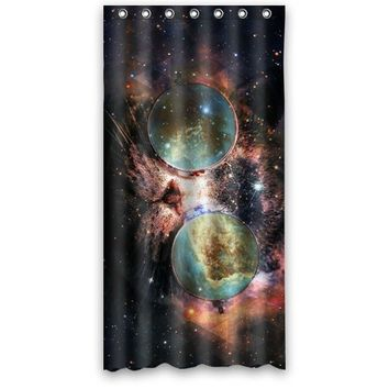 36wX72h Inch Waterproof Bath Galaxy Hipster Cat Space Nebula Shower Curtain, home