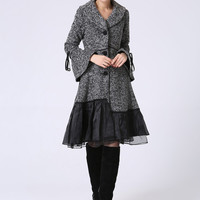 Womens Grey Wool Coat - Wool Blend Lined Jacket with Cowl Neckline, Bell Cuffs and  Ruffle Trim Hem  (1052)