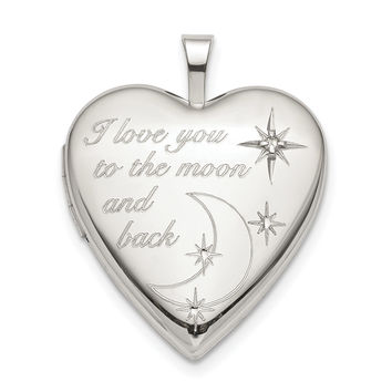 Sterling Silver 20mm LOVE TO THE MOON Diamond Heart Locket QLS820