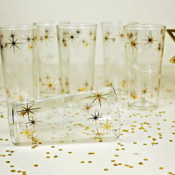 mid century glassware / 1950s retro drinking glasses / atomic starburst gold star glasses