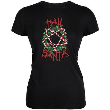 Christmas Hail Santa Pentagram Wreath Juniors Soft T Shirt