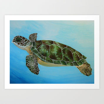 Green Sea Turtle Painting, Ocean Paintings, Sea Life Painting, Original Acrylic Painting on Canvas Art Print by Mae2Designs