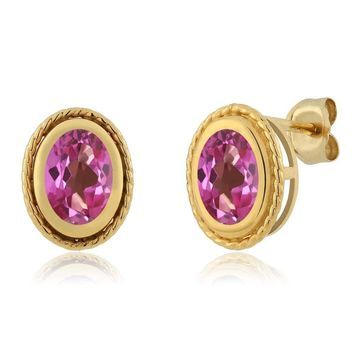 1.90 Ct Oval Shape Pink Mystic Topaz Yellow Gold Plated Silver Stud Earrings