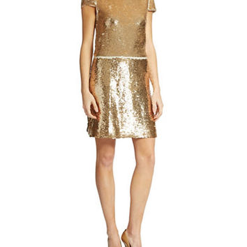 Vince Camuto Sequined Gold Shift