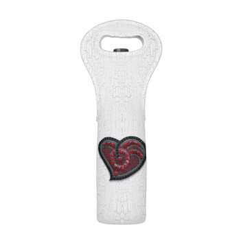 Red Mosaic Heart Wine Tote
