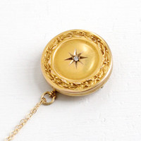 Antique 10k Yellow Gold Diamond Etched Star Locket Necklace- Early 1900s Edwardian Art Nouveau Repousse Victorian Monogrammed Brooch Jewelry