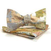 Map bowtie, Map pocket square, world traveler, Geogrophy bowtie,traveler bowtie, map accessory, international map, pocket square bowtie set