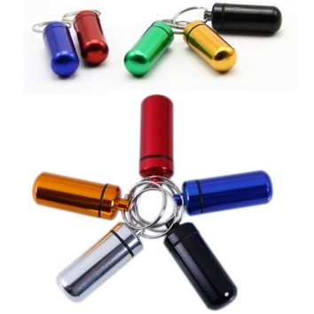 New Key Chain Camping Survival Waterproof Pills Box Container Aluminum Medicine Bottle Keychain Emergency Travel Kits Tool D50