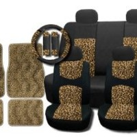 New and Exclusive Mesh Animal Print Accent Interior Set Cheetah Tan Brown 15pc Seat Covers Front & Back Lowback, Back Bench, Steering Wheel & Seat Belt Covers - Floor Mats