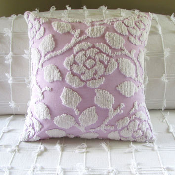 chenille pillow cover 18 X 18 LILAC ROSE purple cushion throw pillow lavender pillow