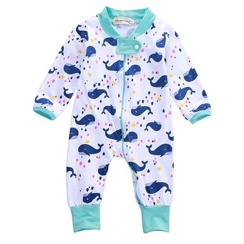 Kids Newborn Infant Baby Boys Long Sleeve Zipper Romper Whale Jumpsuit Outfits Clothes