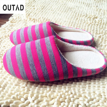 OUTAD 4 Color Winter Warm Soft indoor floor Slippers Women/Men Shoes Striped Cloth Bottom Universal Couple Lovers Plush Home