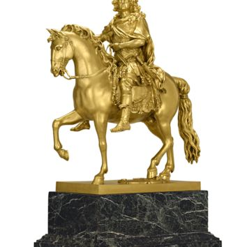 Fine Art, Sculpture, Gilt-Bronze Louis XIV Equestrian Group at rauantiques.com