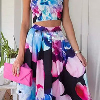 Floral Print Spaghetti Strap Crop Top and Pleated Midi Skirt Set