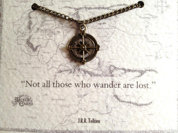 """Tolkien Quote Necklace """"Not all those who wander are lost"""" Compass Charm Lord of the Rings"""
