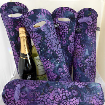 Handmade Double Insulated Wine Tote - Unique Wine Gift - Reusable Champagne Gift Bag