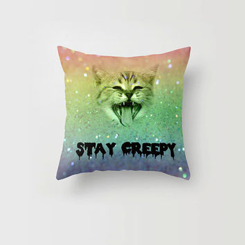 Throw Pillow Cover Stay Creepy Cat Kitten Pastel Goth Rainbow Cute Decorative Pillow Cover Made to Order 16x16 18x18 20x20 Home Decor