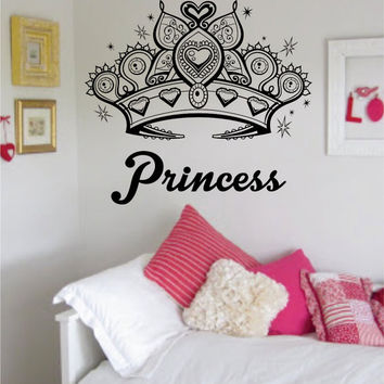 Princess Crown Girl Daughter Design Decal Sticker Wall Vinyl Decor Art