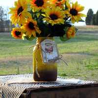 Sunflower floral arrangement, mason jar, painted mason jar, rustic wedding, decorated mason jar, centerpiece, gifts, country kitchen decor