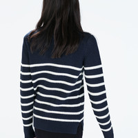 Striped sweater with shoulder buttons