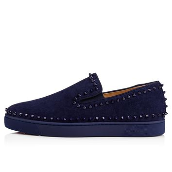 Christian Louboutin Cl Pik Boat Men's Flat China Blue/china Blue Suede 11s Sneakers - Ready Stock