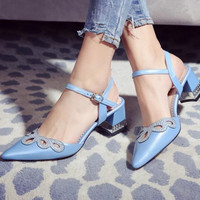2016 New Spring Fall Famous Brand Designer Ankle Strap Shoe Genuine Leather High heel Women Party blue pink Shoes