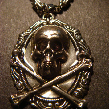 Skull and Crossbone Necklace - Antique Silver and Gunmetal