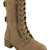 SODA WOMENS DOME COMBAT BOOTS,8 B(M) US,Light Camel PU
