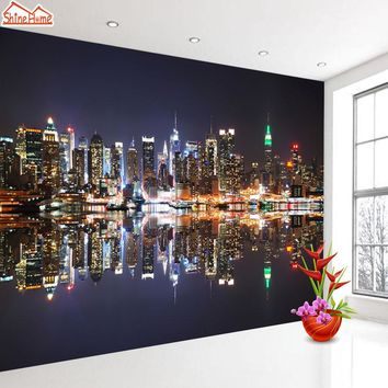 ShineHome-Modern 3d Photo Wallpapers for 3 d Living Room Walls Murals Rolls Wallpapers Night City Building Wall Paper Home Decor