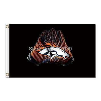 gloves Denver Broncos Flag World Series Super Bowl Champions Football gloves Banner Manning Denver Broncos Banner