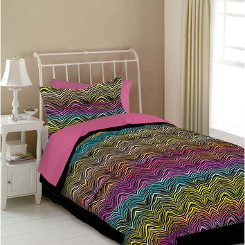 Veratex Hotel Indoor Bedroom Decorative Designer Duvet Accessories Rainbow Zebra Comforter Set Full Rainbow