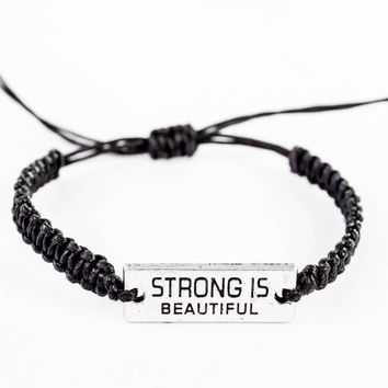 Strong is Beautiful Bracelet, Inspiration Bracelet, Word Bracelet